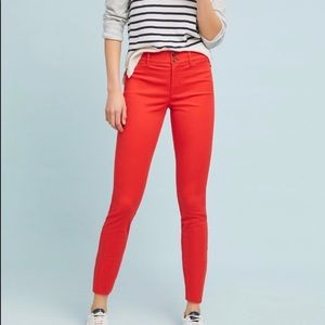 Anthropologie red Essential Slim Trousers